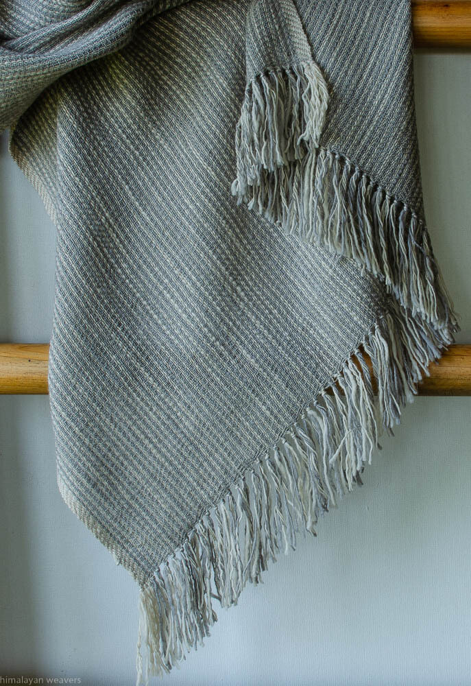 stole woven with handspun wool and dyed with tea and harada