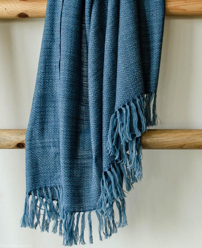 Handwoven Shawl Wool and Eri Silk Dyed with indigo