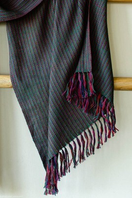 Hand-woven woollen stole dyed with indigo, madder, sappanwood and tesu flowers