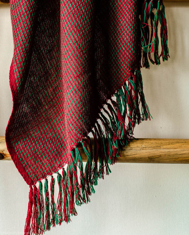 Hand-woven woolen stole dyed with indigo, madder and tesu flowers