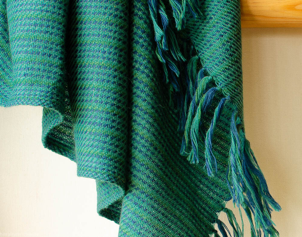Hand-woven woolen stole dyed with indigo and tesu flowers