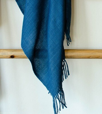 Hand-woven stole wool and eri silk dyed with indigo