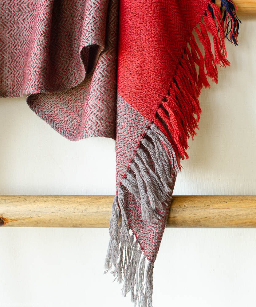 Hand-woven stole wool and eri silk dyed with indigo, madder and harada