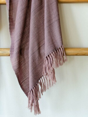 Hand-woven stole wool and eri silk dyed with shellac