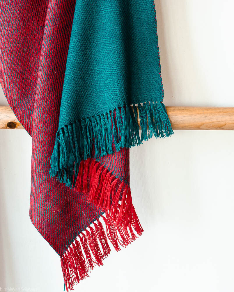 Hand-woven woollen stole dyed with indigo and madder