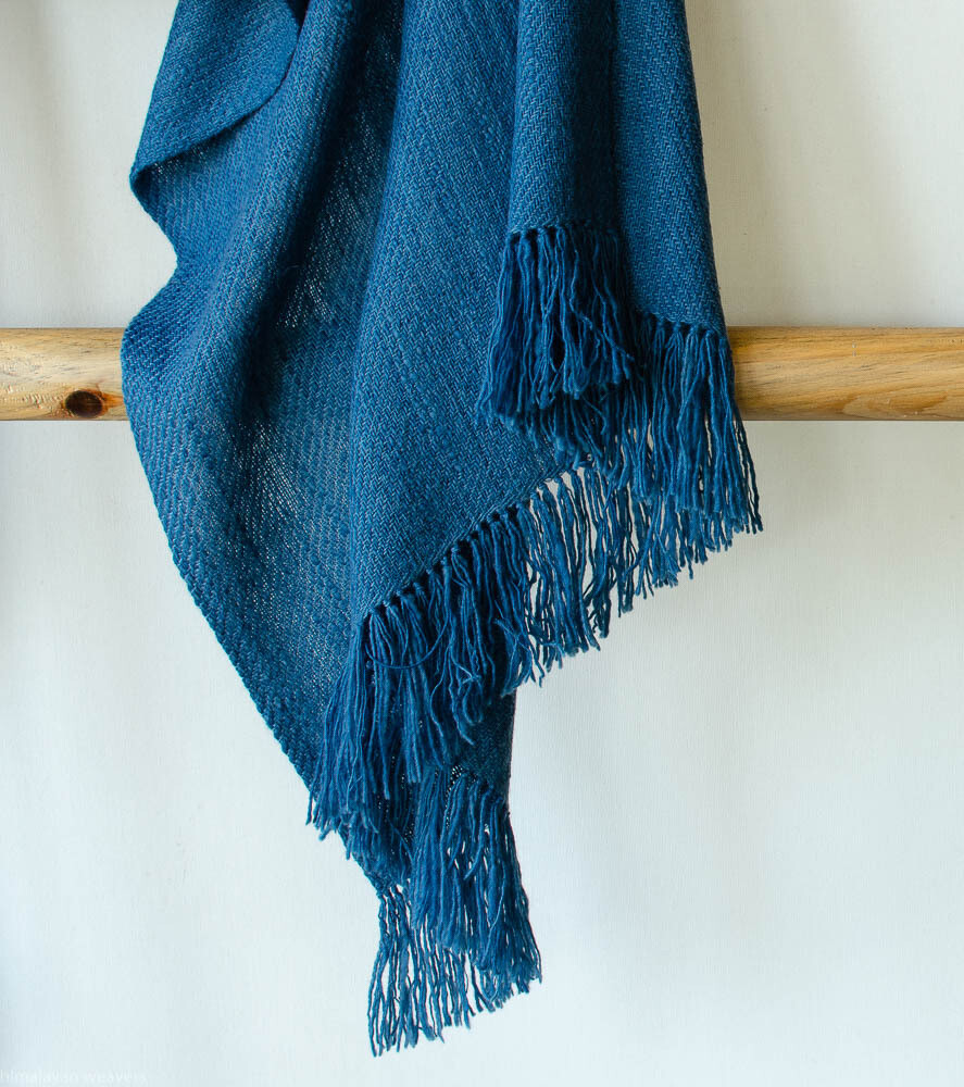 stole woven with handspun wool and dyed with indigo