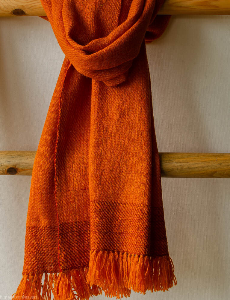 Hand-made Scarf made with hand spun wool and dyed with  tesu flowers and madder