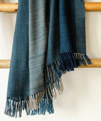 Large handwoven woolen shawl dyed with indigo and harada