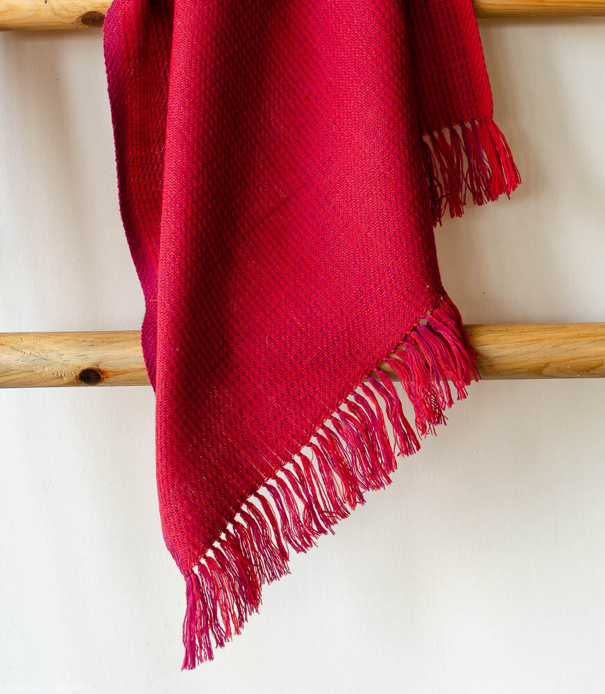 Hand-woven woolen stole dyed with madder and sappanwood