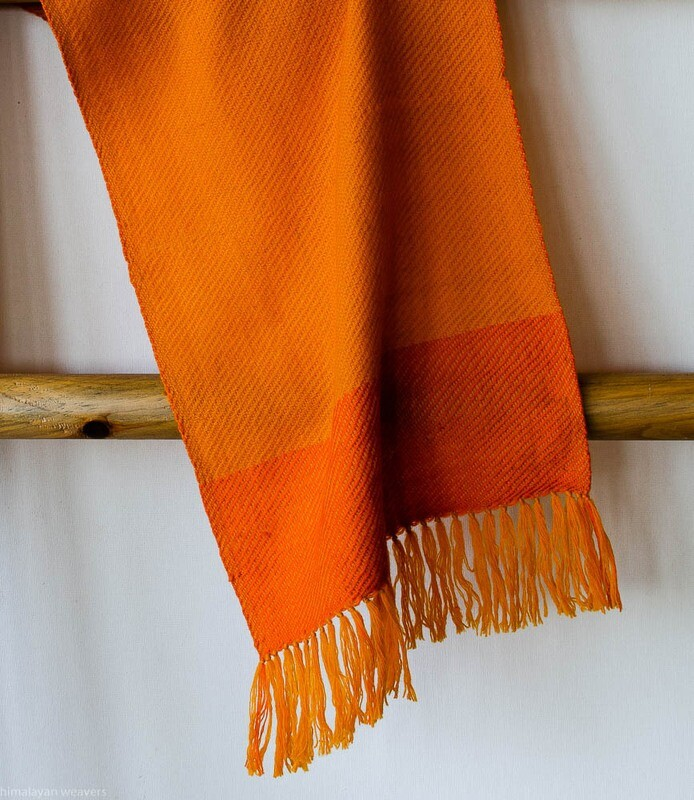 Handwoven Woollen Scarf Dyed with tesu flowers