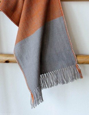 Handwoven Woollen Scarf Dyed with tea, tesu flowers and harada