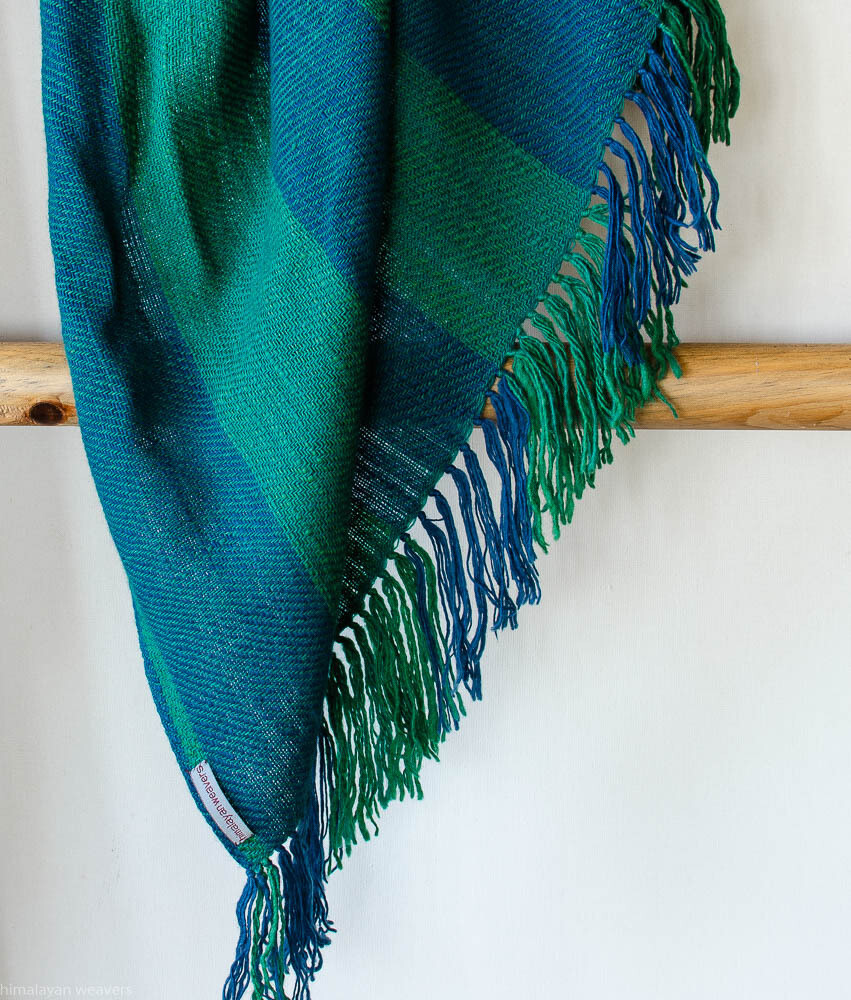 Woolen Shawl Hand Spun and Handwoven Dyed with indigo and tesu flowers