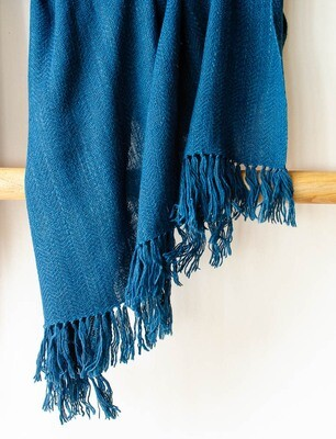 Woolen Shawl Hand Spun and Handwoven Dyed with indigo