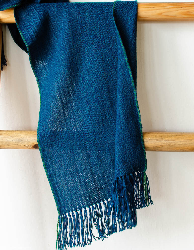 Scarf woven with handspun wool dyed with indigo and tesu flowers