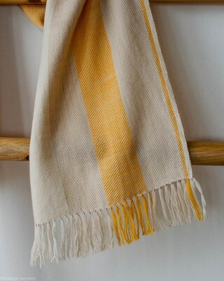 Handwoven Woollen Scarf Dyed with tea and tesu flowers