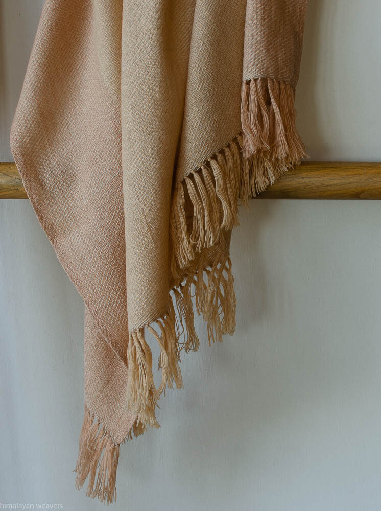 Hand-woven woolen shawl dyed with tea and cutch