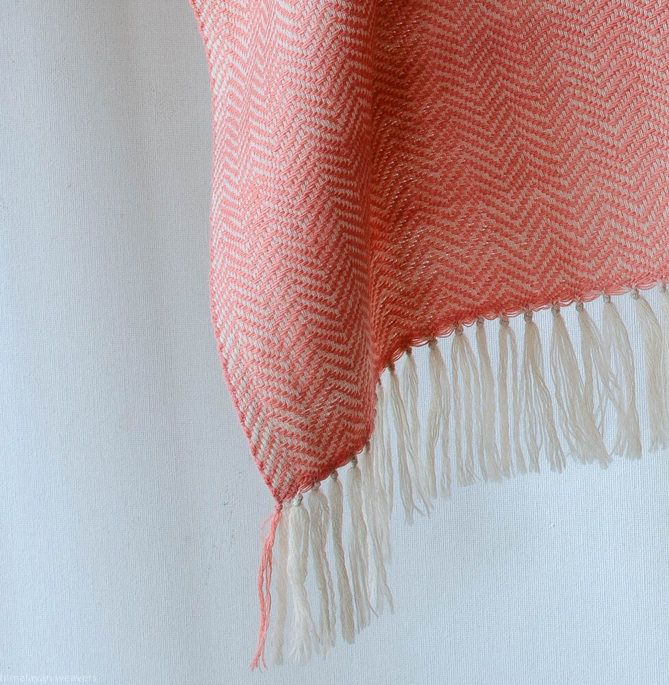 Handwoven Woollen Scarf Dyed with madder and tea