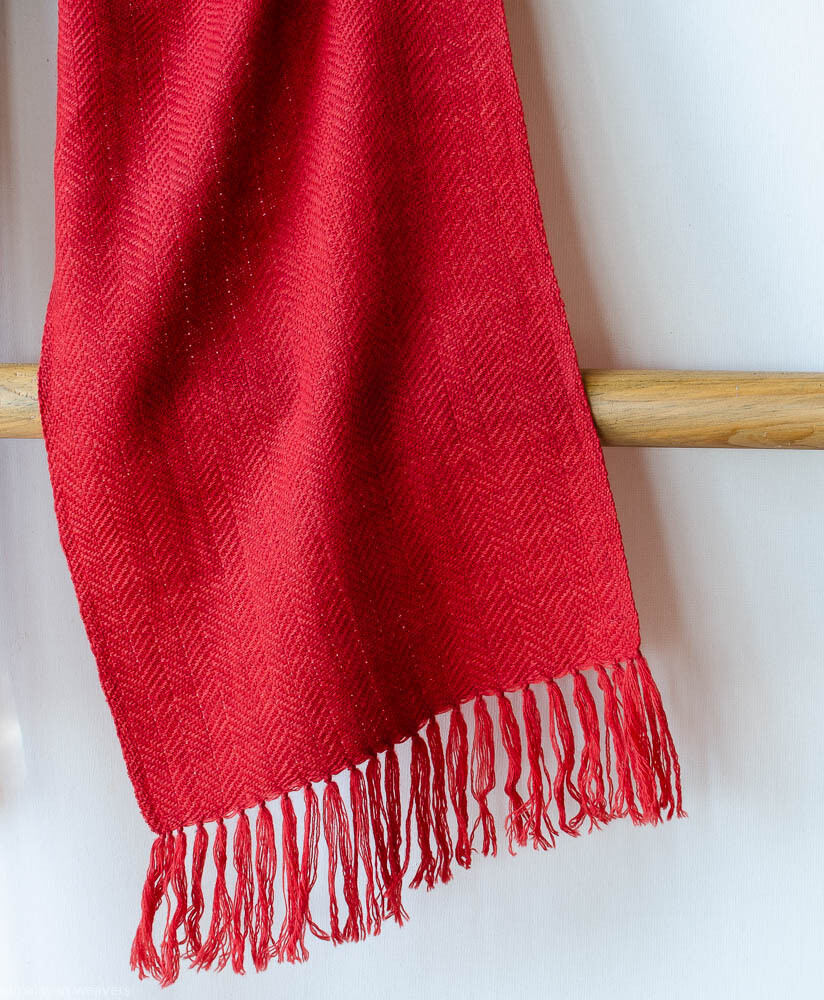 Handwoven Woollen Scarf Dyed with madder