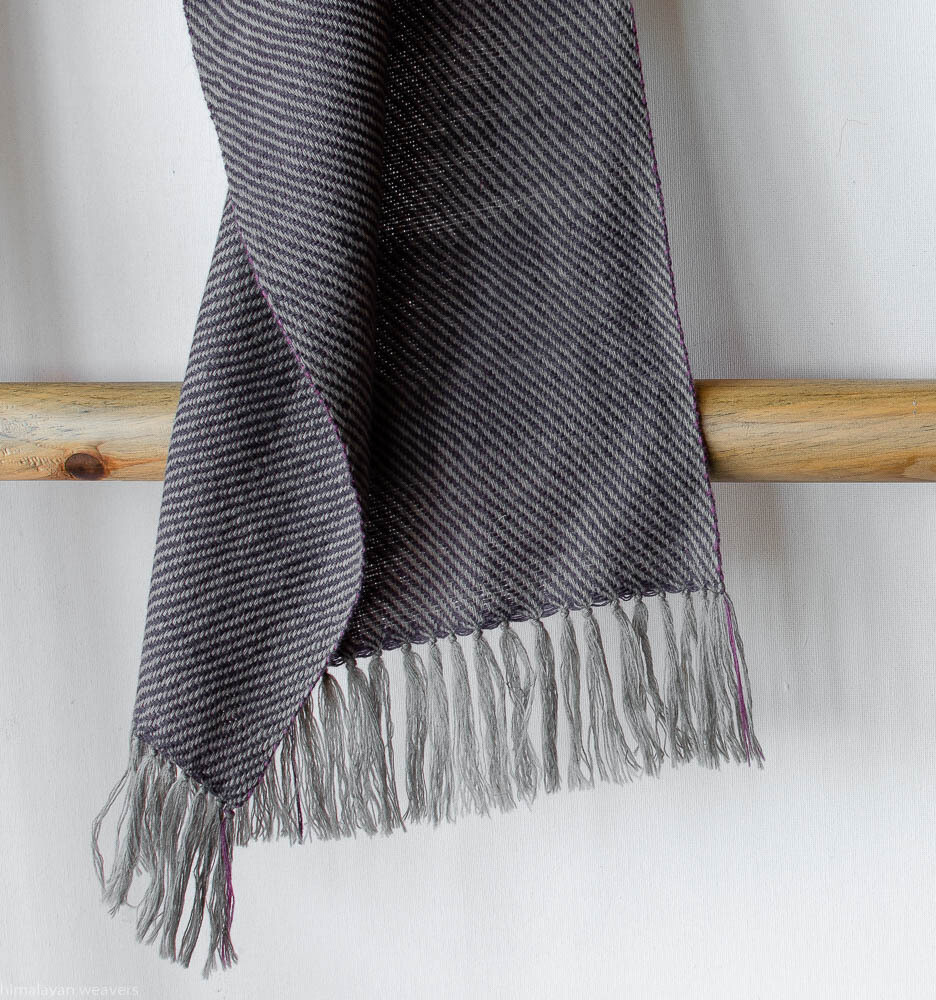 Handwoven Woollen Scarf Dyed with shellac, sappanwood, tea and harada
