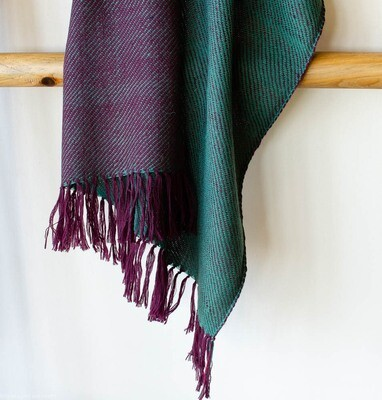 Hand-woven woolen stole dyed with indigo, tesu flowers and sappanwood