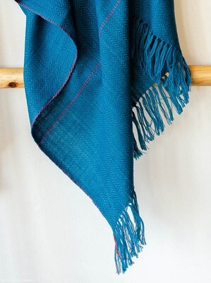 Hand-woven woolen shawl dyed with indigo, shellac and madder