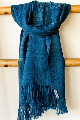 Hand-woven woolen stole dyed with indigo