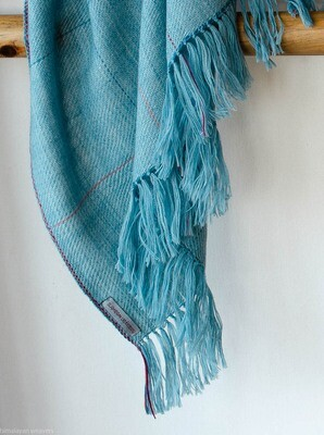 Hand-woven woolen shawl dyed with indigo and sappanwood