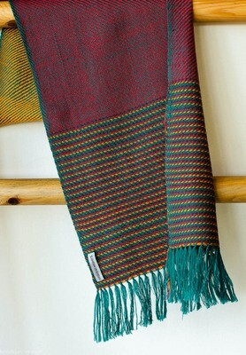 Handwoven Woollen Scarf Dyed with indigo, shellac, and tesu flowers