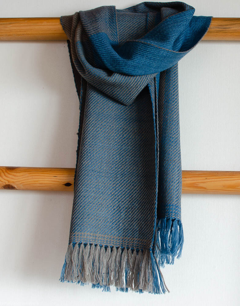 Handwoven Woollen Scarf Dyed with indigo and harada