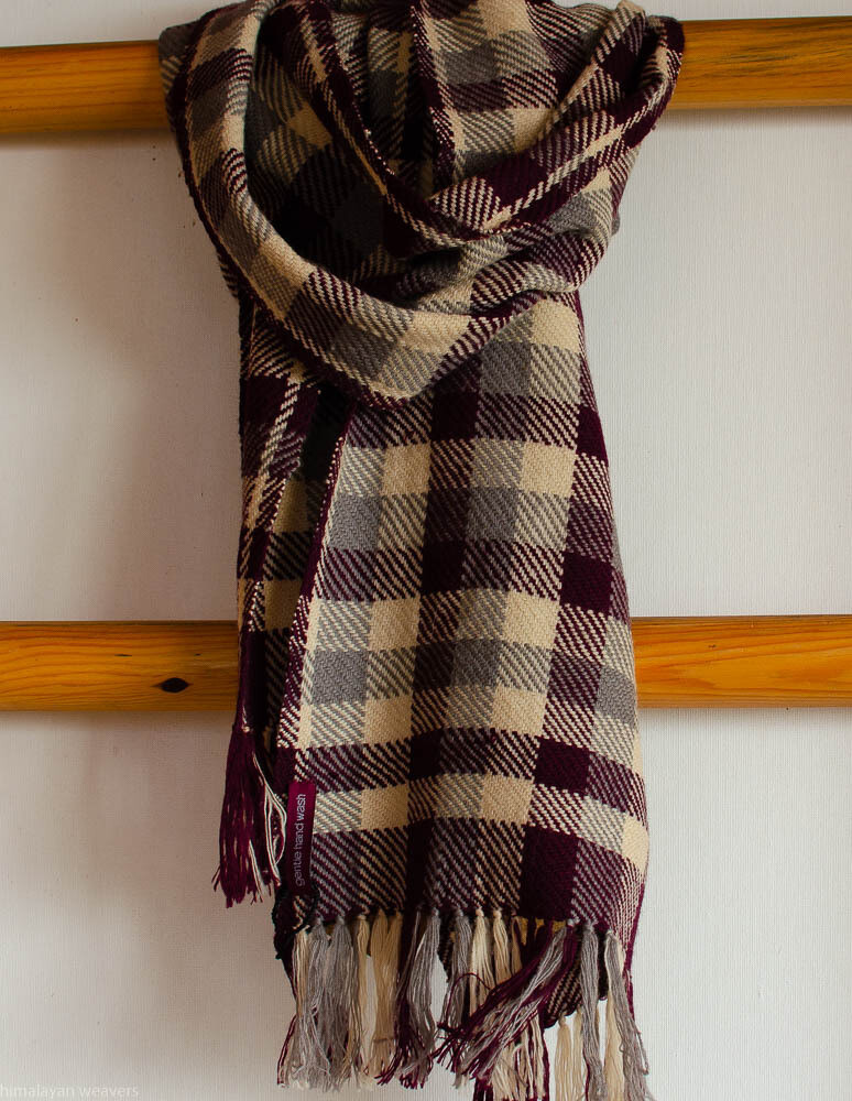 Handwoven Woollen Scarf Dyed with tea, sappanwood and harada
