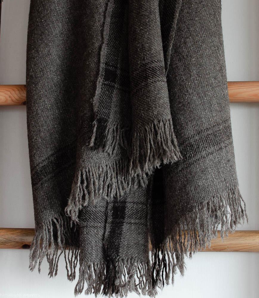 Large Bhotia Grey Shawls / Throw with Himalayan Wool