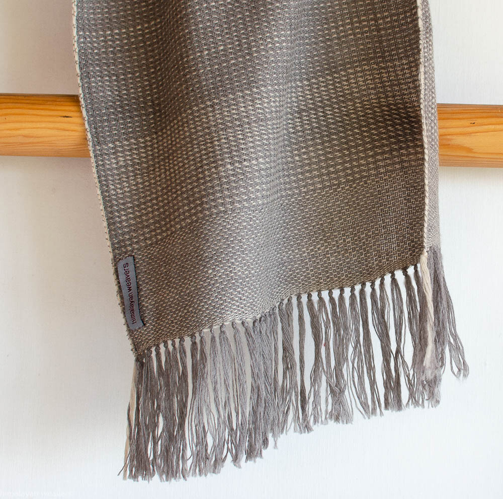 Handwoven Woollen Scarf Dyed with tea and harada