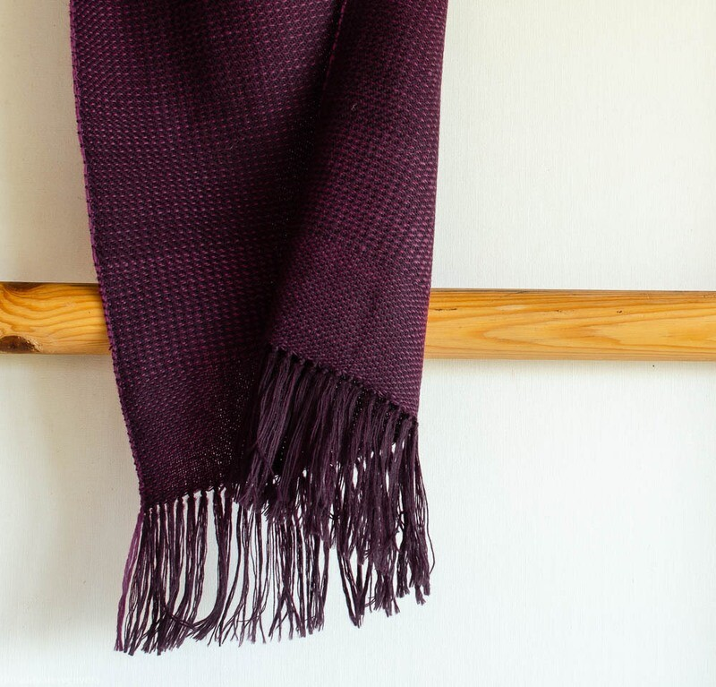 Handwoven Woollen Scarf Dyed with sappanwood
