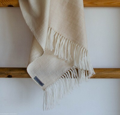 Hand-woven woolen stole dyed with tea