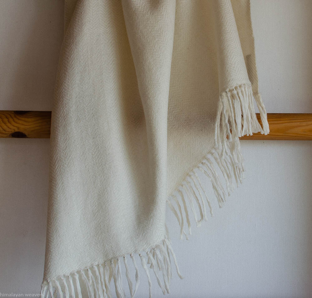 Hand-woven Shawl wool undyed