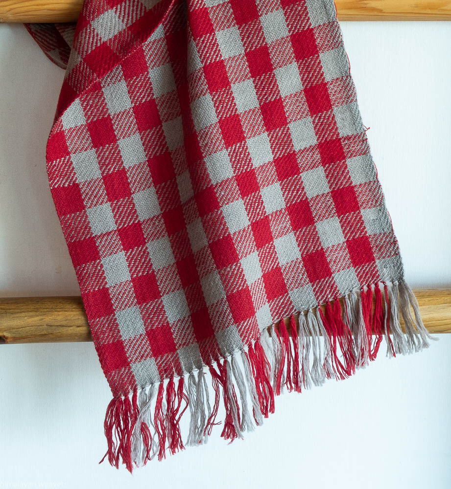 Handwoven Woollen Scarf Dyed with madder and harada (myrobalan)