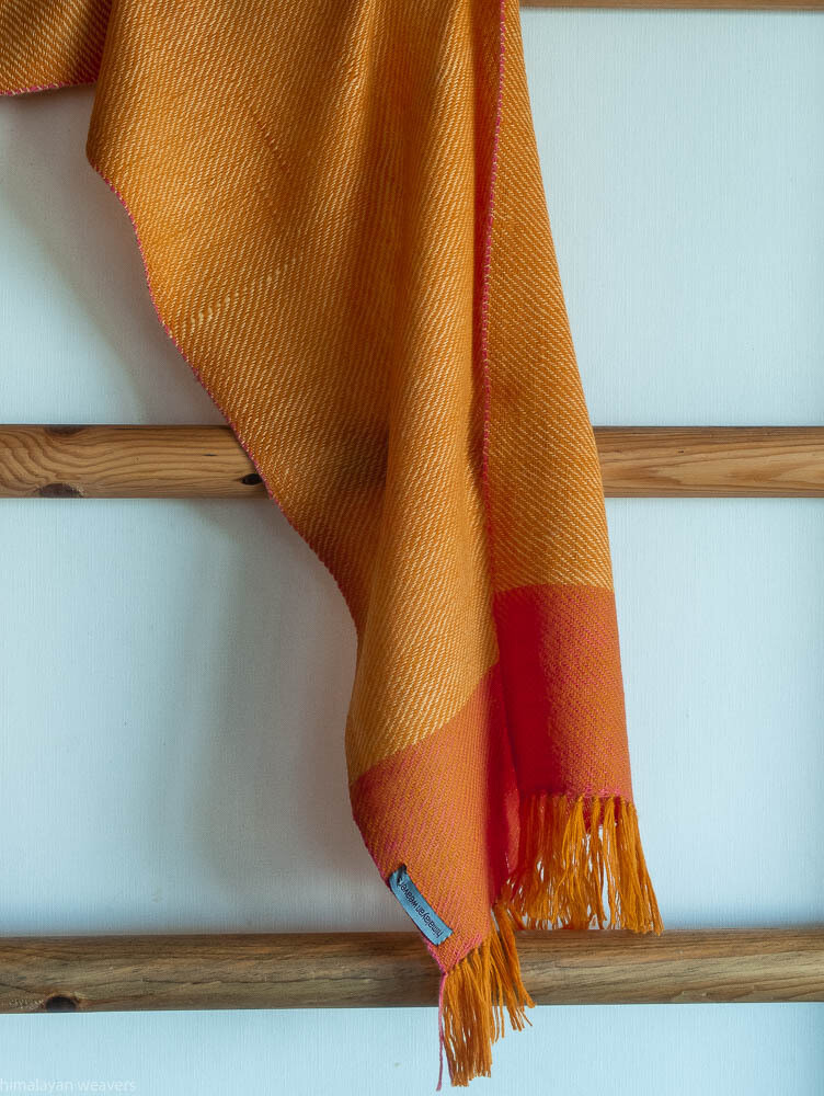 Handwoven Woollen Scarf Dyed with tesu flowers and sappanwood