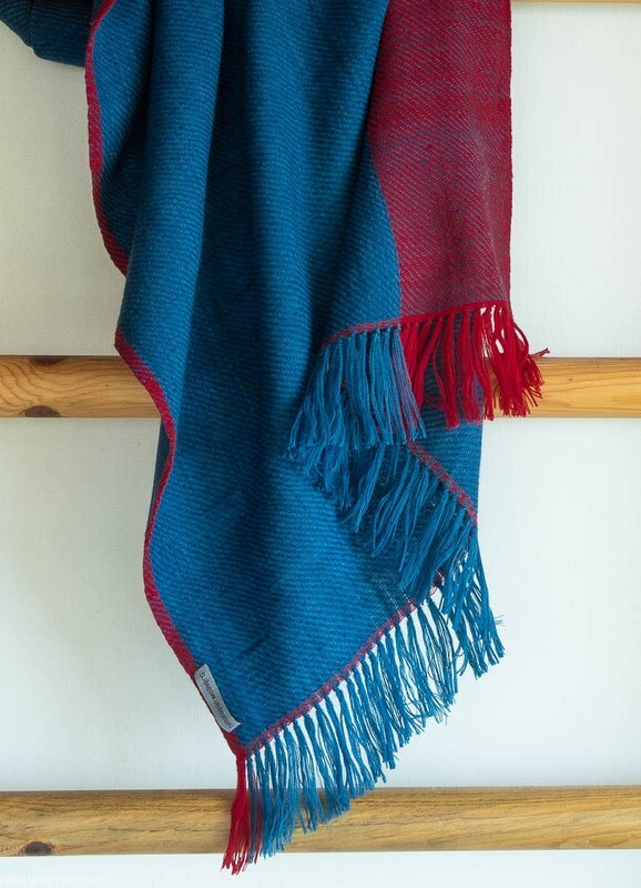 Hand-woven woolen stole dyed with indigo and madder