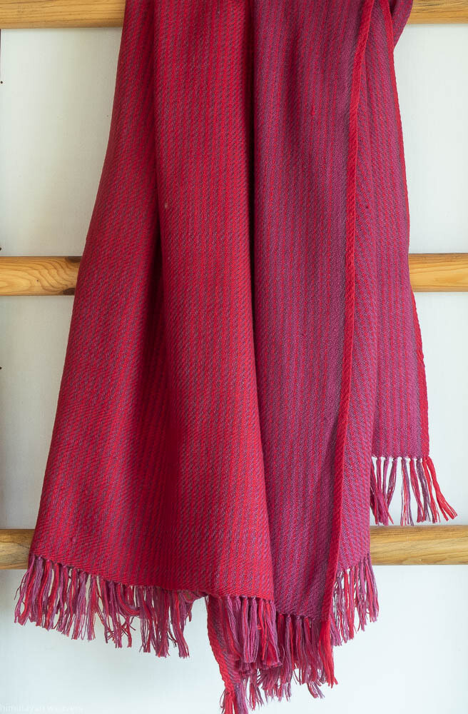 Hand-woven woolen shawl dyed with madder and sappanwood