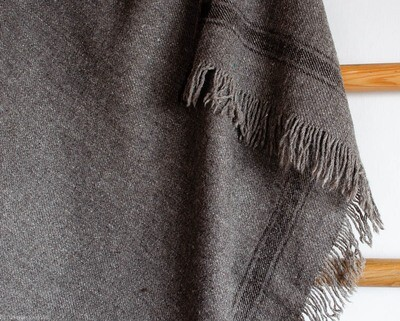 Large Bhotia Grey Shawls / Throw with Himalayan Wool