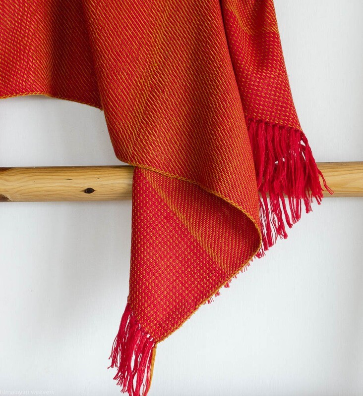 Hand-woven woolen stole dyed with madder and tesu flowers