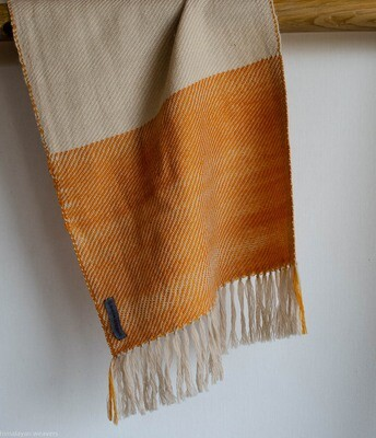 Handwoven Woollen Scarf Dyed with tesu flowers and tea