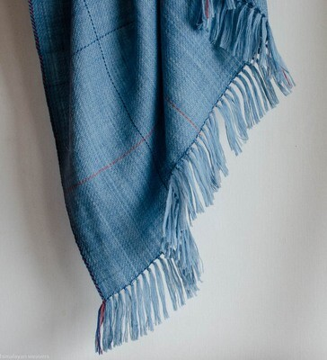 Hand-woven woolen shawl dyed with indigo