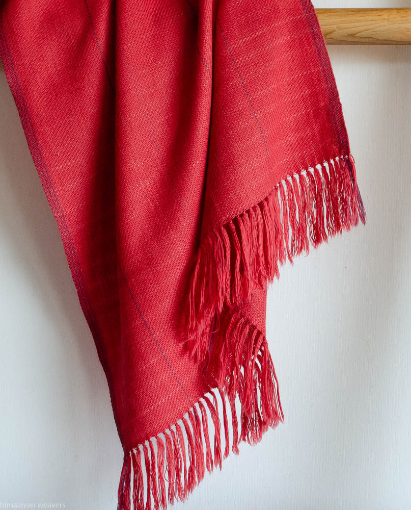Hand-woven woolen stole dyed with madder sappanwood and shellac