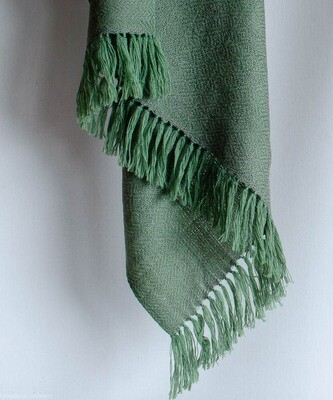 Hand-woven woolen stole dyed with indigo tesu flowers and harada
