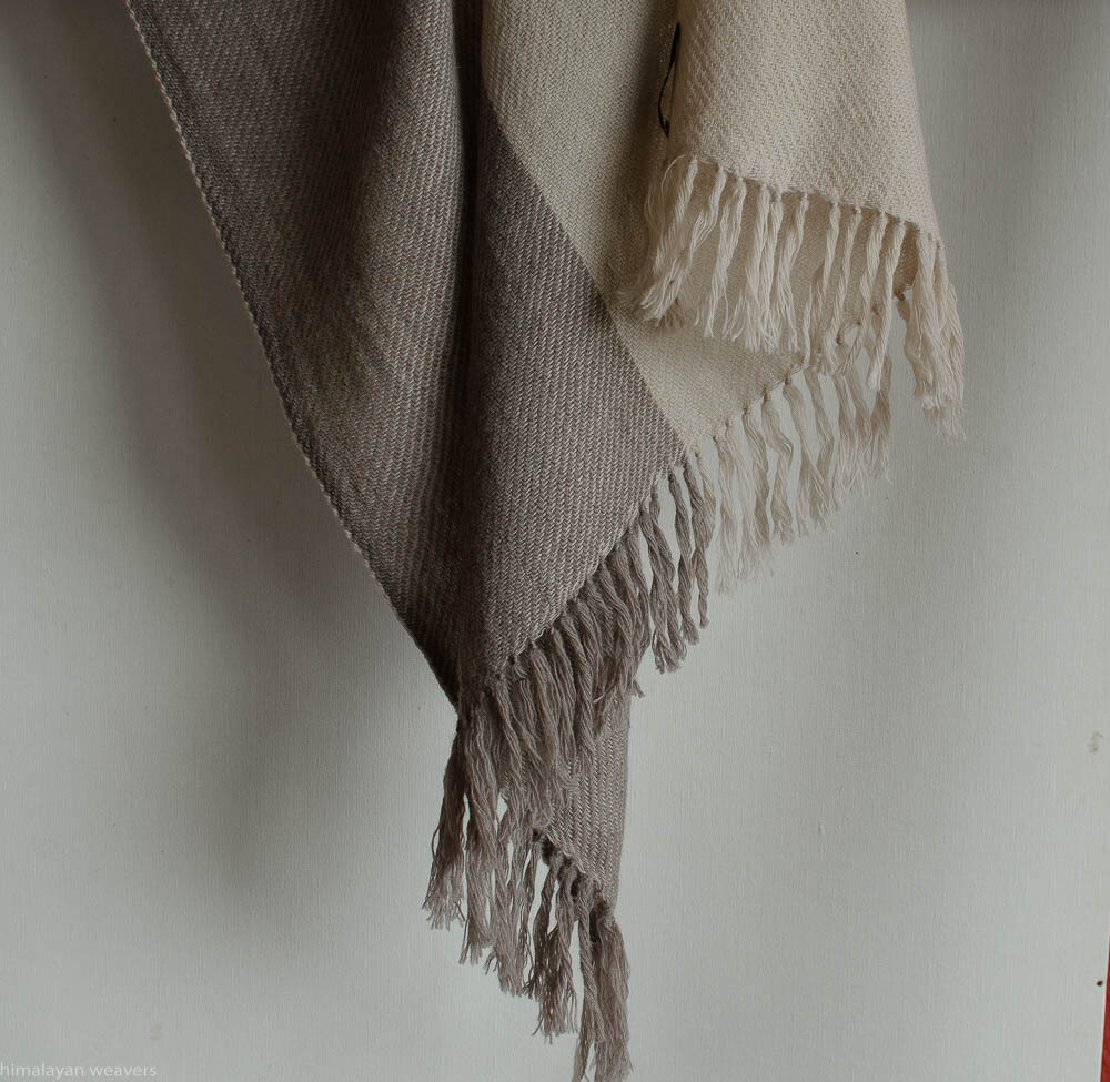 Hand-woven woolen stole dyed with tea and harada