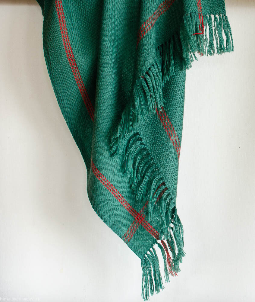 Hand-woven woolen stole dyed with madder, indigo sappanwood and tesu flowers