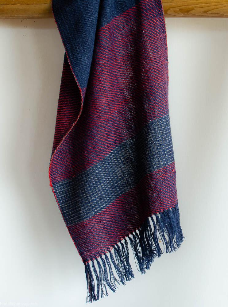 Handwoven Woollen Scarf Dyed with indigo, harada and sappanwood