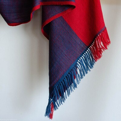 Hand-woven woolen stole dyed with madder and indigo