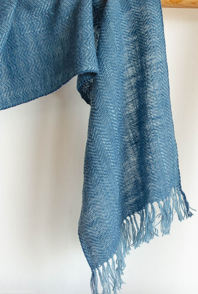 Scarf woven with handspun wool dyed with indigo